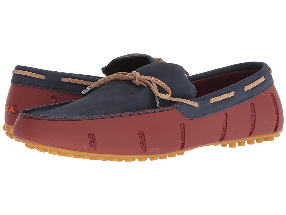 SWIMS Braided Lace Nubuck Lux Loafer Driver (Red Lacquer/Navy/Gum) Men