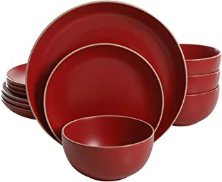 Gibson Home 114386.12RM 12-Piece Dinnerware Set Service for 4, Stoneware, Red Matte