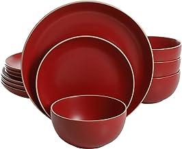 Gibson Home 114386.12RM Rockaway 12 Piece Dinnerware, Red Matte