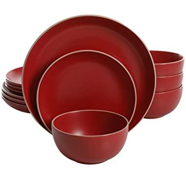 Gibson Home Rockaway 12 Piece Dinnerware, Red Matte