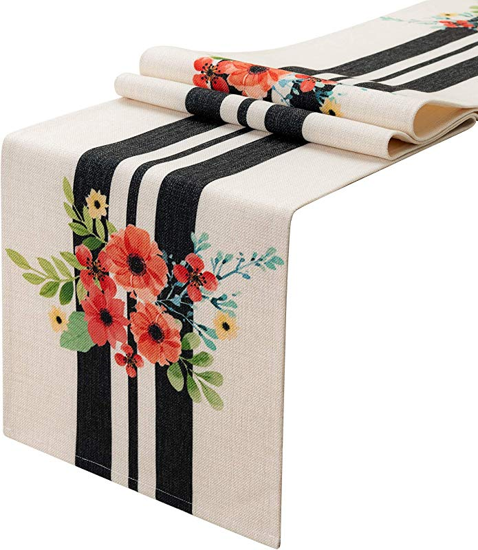 KEY SPRING White And Black Striped With Flowers Pattern Table Runner For Wedding Table Decor Bridal Shower Birthday Party Housewarming Gift Dining Room 12 X 72 Inch Cotton Linen