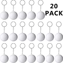 Blulu 20 Pack Sport Keychains or Kids Party Favors, School Carnival Reward, Party Bag Gift Fillers (Golf Ball Keychains, 20 Pack)