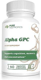 Pure Nootropics - Alpha GPC 250 mg Capsules   60 Veg Cap Value Bulk Savings Pack   Brain Function Boost & Muscle Strength ...