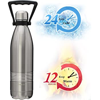 TOPOKO 25 Oz Stainless Steel Water Bottle Double Wall Insulated Thermos Vacuum Bottle Mental Cap Leak Proof Bottle,BPA free Metal Lid With Handle Powder Coating Keep Hot 12H Cold 24H-Gold