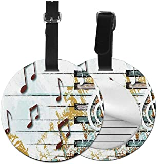 Round Luggage Tags Abstract Music Note PU Leather Suitcase Labels Bag