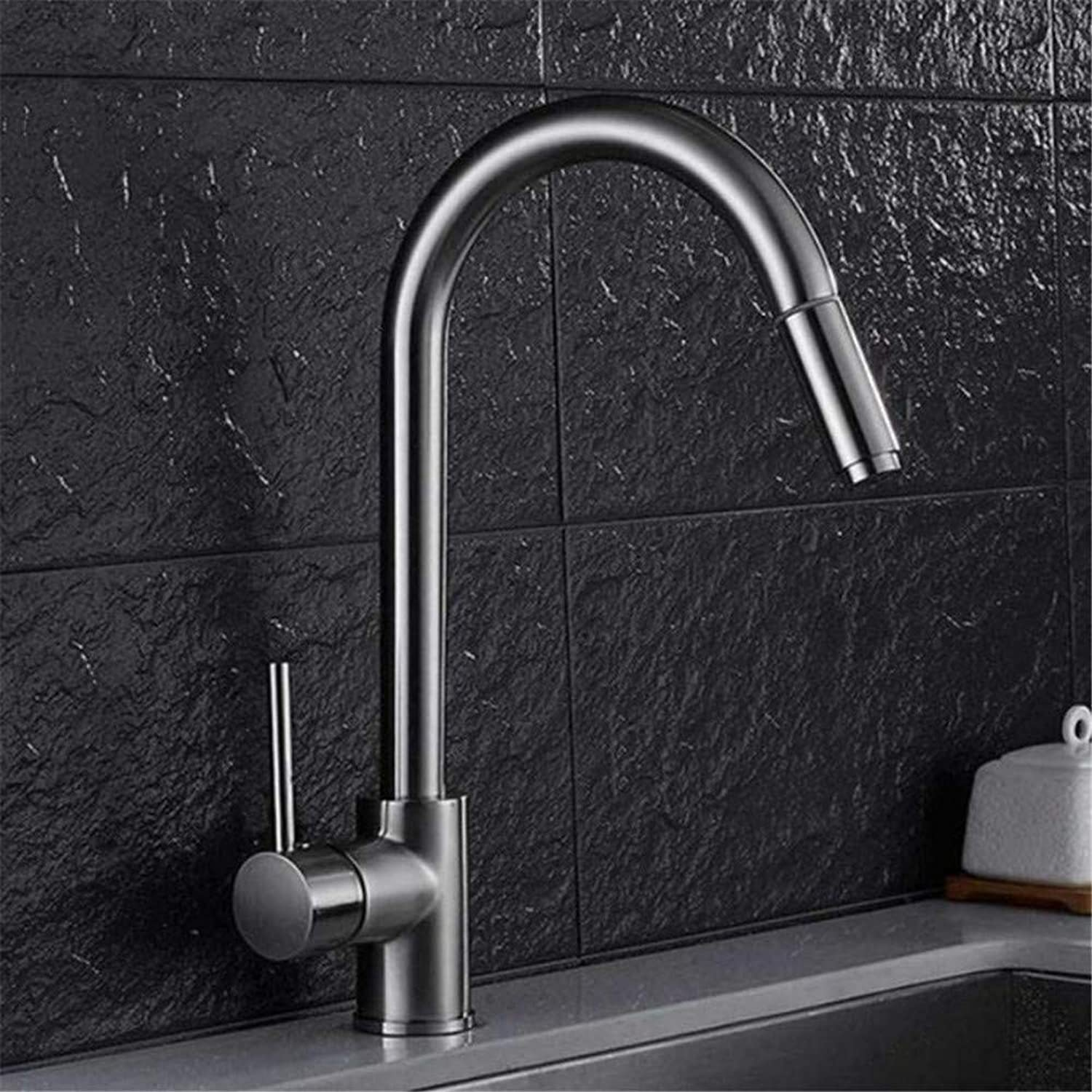 Brass Chrome Hot and Cold Water Faucet Brass Chrome Nickel Black Sink Mixer Tap Pull Out Shower Head Single Handle Swivel Deck Mounted Kitchen Water Tap