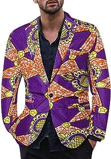 ZODOF Chaqueta de Traje para Hombre - Traje para Hombre Moderno Vestido Estampado étnico Vintage para Hombre con Traje Floral y Chaqueta Ajustada Tipo Blazer(Púrpura,XXXL)