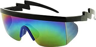 Semi Rimless 80s Neon Rainbow Mirrored Rave Shades Crooked ZigZag Bolt Arm Retro Sunglasses