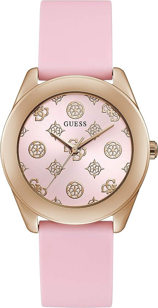 Guess orologio per donna cassa in acciaio inossidabile e cinturino in silicone rosa GW0107L5
