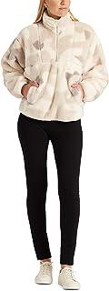 CHAPS womens Polar Fleece Lined Sherpa Quarter Zip Pullover Jacket