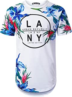 Mens Hipster Hip Hop Tropical Graphic Longline T-Shirt (Various Style)