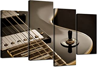 Large Black White Electric Guitar Canvas Wall Art Pictures - Multi Panel Artwork - Modern Music Prints - Split Set of 4 Canvases - XL - 130cm Wide