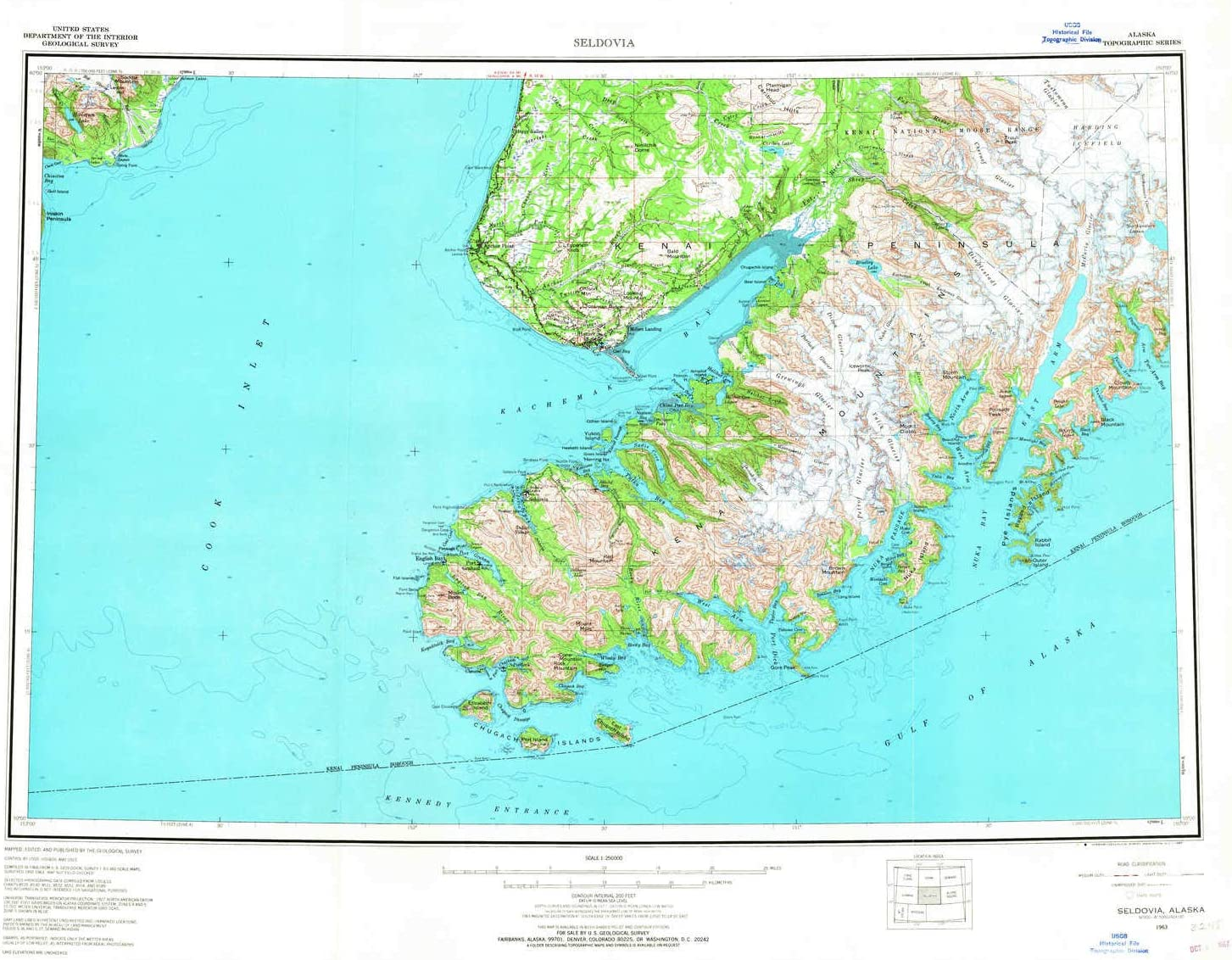 Amazon Com Seldovia Ak Topo Map 1 250000 Scale 1 X 3 Degree Historical 1963 Updated 1967 24 3 X 30 In Polypropylene Sports Outdoors