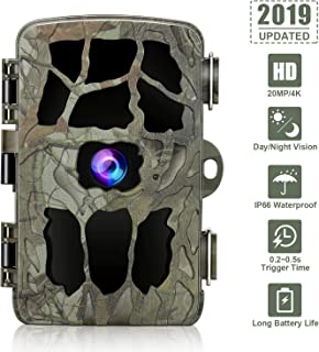 GRM Trail Game Camera 4K 20MP, Hunting Camera with Night Vision Waterproof Security Camera 0.2s Trigger Time Motion Activated Support 256G TF Card (Not Included) for Wildlife Monitoring and Home
