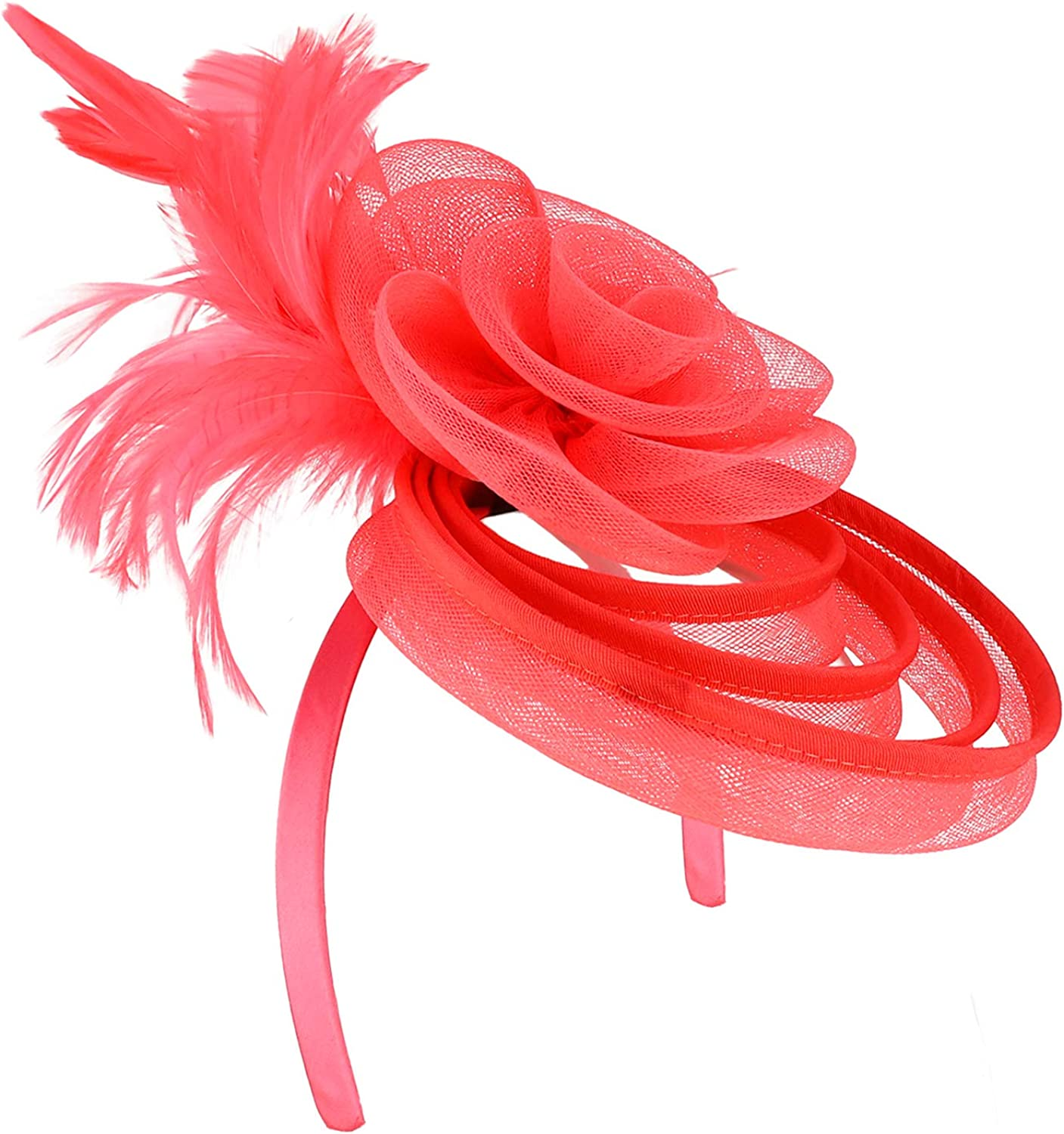 Trendy Apparel Shop Meshed Multi Hoops with Feather Flower Fascinator Headband