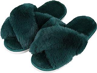 Evshine Women's Fuzzy Slippers Cross Band Soft Plush Open Toe House Slippers Anti-Skid Cozy Memory Foam Slip on Indoor or ...