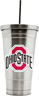 NCAA Ohio State Buckeyes 17oz Double Wall Stainless Steel Thermo Tumbler with Straw