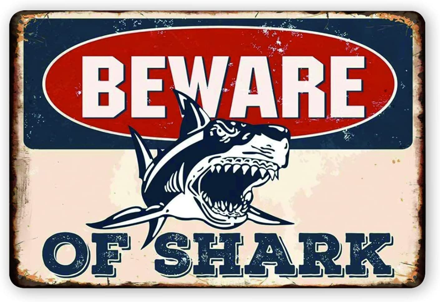 FGRYFRU Tin Sign Vintage Retro Beware of Shark Metal Poster Home Garage Bar Coffee Kitchen Wall Decor Plaque for Man Cave 12x8 Inch