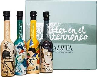 Aceite de Oliva Virgen Extra - Estuche 4 botellas de 100 ml. - Edición Artistas del Mediterráneo - Ideal regalo por SAHITA