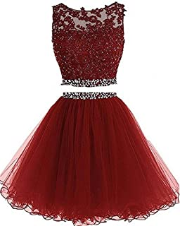 Women's Prom Homecoming Dress Short for Juniors 2019 Party Dresses 2 Piece Tulle D127