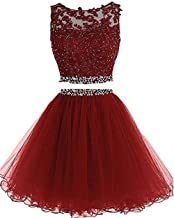 Dydsz Women's Prom Dress Short For Juniors Party Dress 2 Piece Tulle D127