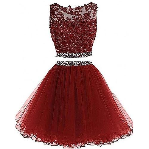 Burgundy Two Piece Prom Dress: Amazon.com