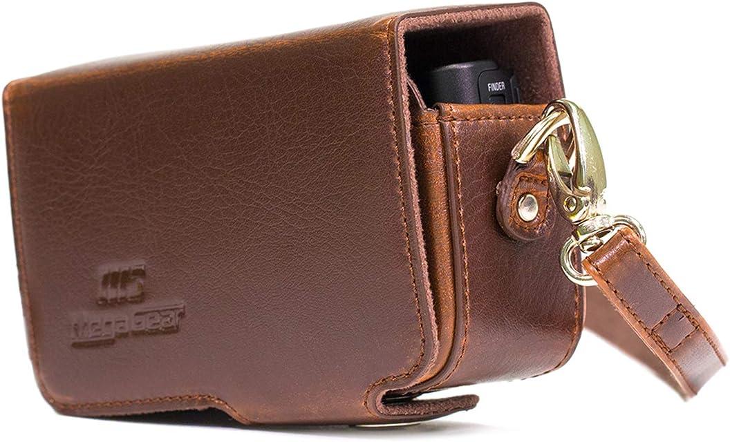 MegaGear MG1510 - Funda para Canon PowerShot SX740 HS/SX730 HS (de Cuero con Correa) Color marrón Oscuro