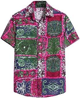 SANFASHION Men Hawaiian Shirt Summer Short Sleeve Shirts Top Printed Flower Slim Fit Casual Lightweight Breathable Comfy S...