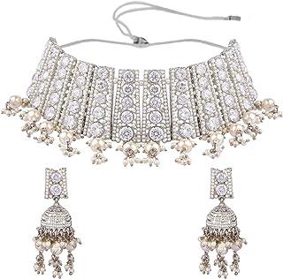 Efulgenz مجوهرات هندي بوليوود فو فو بيرل كريستال قلادة أقراط زفاف مجوهرات مجموعة للنساء الفتيات
