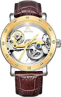Steampunk Golden Screw Bezel Automatic Mechanical Wristwatch See-Through Dark Brown Leather Strap WR50M