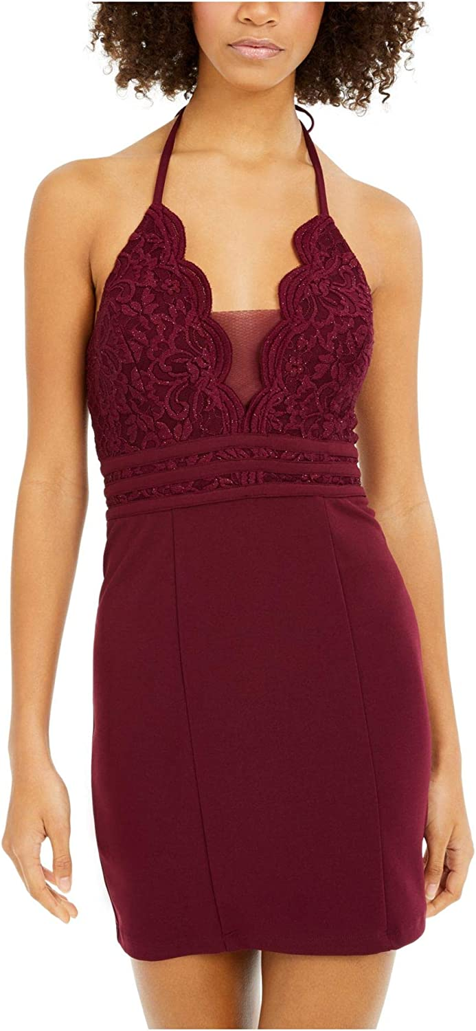 Speechless Womens Maroon Lace Shimmering Spaghetti Strap V Neck Mini Body Con Cocktail Dress Size 11
