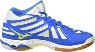 MIZUNO V1GA174544 Wave Hurricane 3 Mid Men's Volleyball Shoes, White/Safety Yellow/Directoire Blue