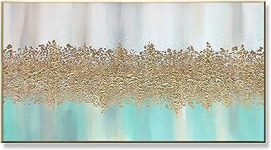 Handgeschilderd Olieverfschilderij - Modern Abstract Handgetekend Bladgoud Landschap Olieverfschilderij Blauw Paletmes Tex...