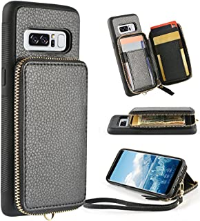 ZVE Samsung Galaxy Note 8 Wallet case, 6.3 inch, Leather Wallet Case with Credit Card Holder Slot Zipper Wallet Pocket Purse Handbag Wrist Strap Protective Cover for Samsung Galaxy Note 8 - Black