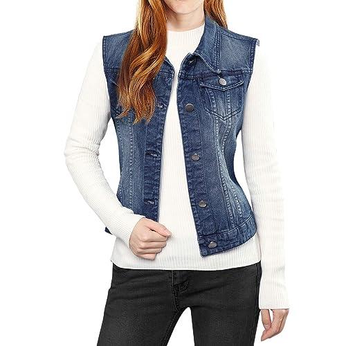 6c285bb368527 Allegra K Women s Buttoned Washed Denim Vest Jacket w Chest Flap Pockets