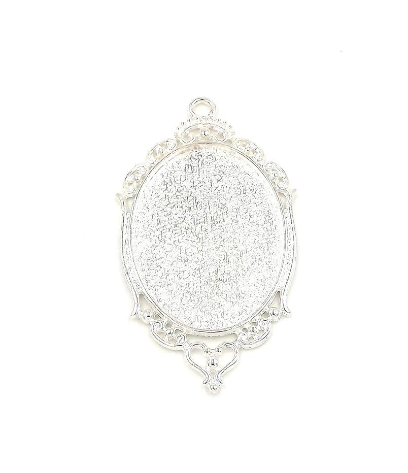 20 Oval Fancy Pendant Trays - Silver Color - 30X40mm - Pendant Blanks Cameo Bezel Settings Photo Jewelry - Custom Jewelry Making - 30X40mm-Deannassupplyshop