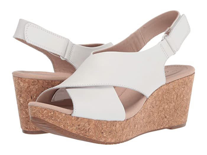 Clarks  Annadel Parker (White Leather) Womens Shoes