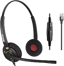 Office Phone headsets Rj9 with Noise Cancelling Mic for Mitel 5220e 5330e 5330 5340 Polycom VVX311 VVX410 VVX411 VVX500 Avaya 1408 1416 5410 ShoreTel 230 420 480 NEC Landline Deskphones (A800D)