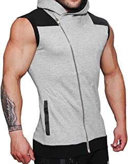 TOPUNDER Mens Top Fashion Men's Slim Fit Hooded Patchwork Muscle Casual Tops Blouse Waistcoat