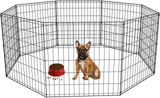 Pet Playpen Dog Fence Exercise Pen Metal Wire Portable Playpen Dog Crate Kennel Cage Black,24 Inches