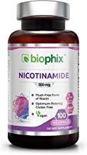 B3 Nicotinamide 500 mg 100 Vegetarian Capsules - Natural Flush-Free Vitamin Formula   Gluten-Free Nicotinic Amide Niacin   Skin Health and Healthy Cell Repair Support