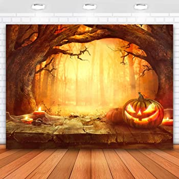 Zhy Halloween Backdrop 7x5ft Black Forest Pumpkin Lights Bats Full Moon Wooden Floor Background for Photography Hallowmas Theme Party Decor Vinyl Studio Photo Booth Backdrop Props