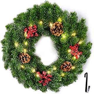 Fristmas Pre-Lit Cordless Christmas Wreath, 14 inch Wreaths for Front Door with 20 Battery Operated Warm LED Lights and Wreath Hanger/Pine Cones/Berries, Xmas Decor for Indoor and Outdoor