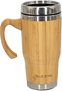 Blue star Big Bamboo Vacuum Insulated coffee or tea Mug With Handle | Reusable 500 ml / 17oz Coffee Cup, Detachable Lid | BPA-Free Food Grade Stainless Steel Tumbler | Double Walled Travel Mug