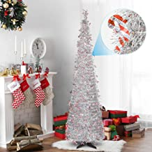 HOHOTIME Tinsel Christmas Tree 6ft, Detachable Artificial Christmas Tree with Candy Canes for Christmas Home Decor, Christmas Party Decorations