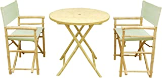Statra SET-011-00.14 Outdoor Table and Chairs Set Dining Patio Bistro Pub Bar Garden Bamboo 3-Piece, Celadon