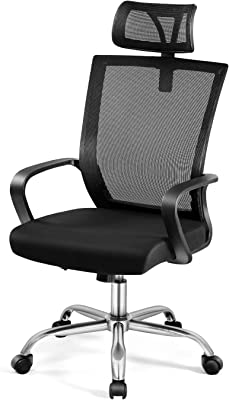Magic Life Office Chair Desk Chair Computer Chair Home Office Chair Ergonomic Chair with High Rebound Seat and Adjustable Headrest (Black)