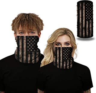 Tsyllyp Face Bandanas Mens Womens Headband American Flag Shield Scarf Neck Gaiters for Dust Outdoors Sports Daily Protection