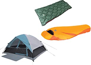 Alpinizmo High Peak USA Ultra Lite 20F & Ranger 20F Sleeping Bag + One 6 Tent Set, Orange/Blue/Green, One Size