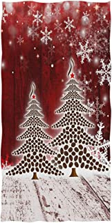 Christmas Tree with Snowflake Hand Towels 16x30 in Bathroom Towel, Retro Wooden Red Ultra Soft Highly Absorbent Small Bath Towel Merry Christmas X-mas Bathroom Decor Gifts